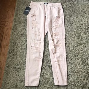 NWT MISSGUIDED High Waist Jeans US 10  Distressed